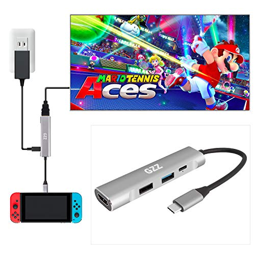 USB Type C to HDMI Digital AV Multiport Hub, USB-C (USB3.1) Adapter for Nintendo Switch, Samsung DEX Mode, MacBook Pro and More, with USB3.0, USB2.0, 4K HDMI and PD Charging, Portable Dock Aluminium