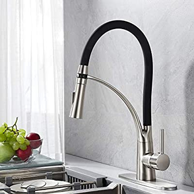 RODDEX Pullout Kitchen Faucet Solid Brass Single Handle Kitchen Sink Faucet with 360 Swivel Black Pull Down Sprayer, 3 Hole Deck Plate, Brushed Nickel
