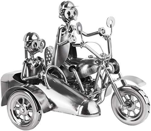 BRUBAKER Screw Man Motocicleta con Sidecar - Figura de Hierro Hecha a Mano Hombre de Metal - 23 cm Figura de Metal Regalo para Motociclistas y Aficionados a Las Motos