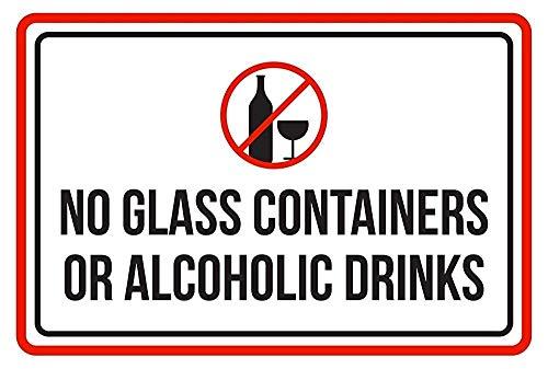 Warnschild NO Glass Container or Alcoholic Drinks Pool SPA 12X16 Inches M0216 Verkehrszeichen Geschäftsschild Aluminium Metall Zinnschild