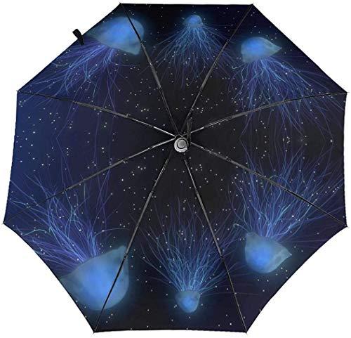 Abstrakter Weltraum Unterwasserwelt Qualle Automatisch Dreifach Faltbarer Regenschirm Sonnenschirm Sonnenschutz Innen Druck