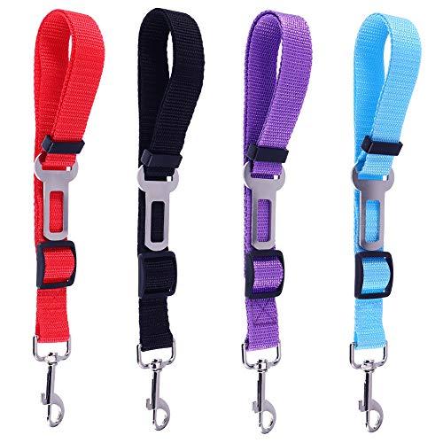 Manda Stell Lot de 4 ceintures de sécurité réglables pour animal domestique et chat avec harnais de sécurité pour harnais de voiture, tissu en nylon, rouge, bleu, noir, violet, comme sur l'image