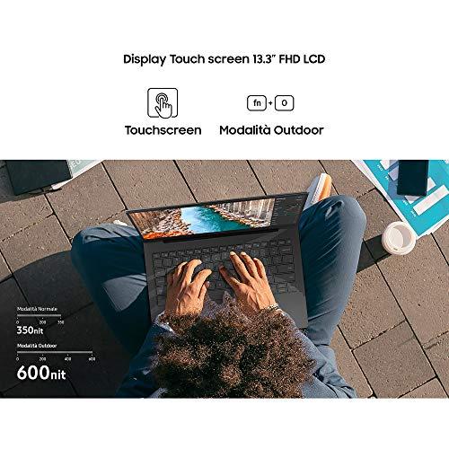 "Samsung Galaxy Book S (Intel), Portatile Wi-Fi 6 Windows   10 Home, Display Touch Screen 13.3"" FHD LCD, Batteria 42Wh, RAM 8GB, Memoria 512GB UFS, Lettore Impronte Digitali, Grey, [Versione Italiana]"
