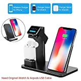 COSOOS Wireless Charger, 3IN1 Wireless Charging Station for Apple Products,iWatch Series 5/4/3/2/1,Airpods Pro/2/1,Qi Charging Stand for iPhone 11 Pro Max/Xs/Xr/X/8/8 Plus(Aluminium,No Adapter)