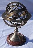 Grande Sphère armillaire Laiton antique Spere sur base en bois