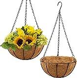 Paquete de 2 canastas Colgantes de Metal con ForrodeCoco Coco, Soporte de Alambre Redondo para Plantas de 10 Pulgadas con Cadena para Colgar