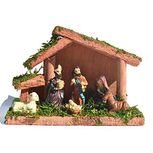 Canghai Belén tradicional de Navidad con figuras de belén de Navidad, cuna estable para decoraciones de Navidad (16 x 7,5 x 11 cm)