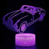3D USB Luces nocturnas,Lámpara de mesa táctil Luces con control remoto para la decoración del partido para niños niñas niños Presentes de cumpleaños - Coche descapotable