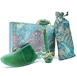 Jade Roller Gua Sha Set for Face - Rare 100% Natural Quartz Roller for Eye Neck Cheek Forehead Jaw Anti Wrinkles Pore Size Dark Circles Fine Lines Puffy Eyes