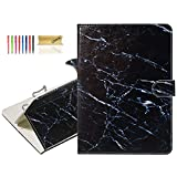 Dteck 6.5-7.5 Inch Universal Tablet Case - Slim Lightweight Cute Folio Wallet Stand Cover Case for Samsung Tab 7.0/ Fire/Oasis 7.0 2019/ L G G Pad 7.0/ Google Nexus 7 Inch/Lenovo Tab E7-Black Marble