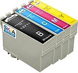 Skia - Cartucho de Tinta refabricado para Usar en Lugar de Epson 27 XL, T 2711 2712 2713 2714 Workforce WF 3620 DWF 3640 DTWF 7110 DTW 7610 7620 TWF, Pack de 4