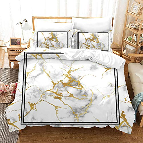 FAIEK Bedding 3 Pieces Duvets Covers Pillowcase White marble Microfiber Bedding Comfortable Breathable Duvet Cover Set Fashion Home Bed Linings 180X200CM