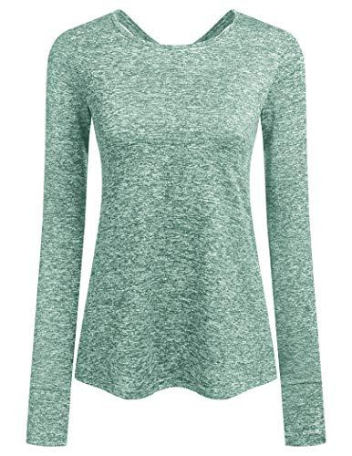 ADOME Damen T-Shirt Langarm Fiteness Shirt Schnell Trocken Laufshirt Longsleeve Sweetshirt Yoga Top Oberteile Gym