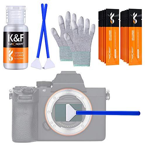 K&F Concept-Kit de Limpieza Sensor Full Frame 24mm (16 Bastones/Envasados al Vacío)/ 20ml Limpiador Líquido/Guantes Antiestáticos, Cleaning Kit Camara Mirrorless para Objetivos/Canon/Sony/Nikon