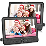 FANGOR 10'' Dual Car DVD Player Portable Headrest CD Players with 2 Mounting Brackets, 5 Hours Rechargeable Battery,...