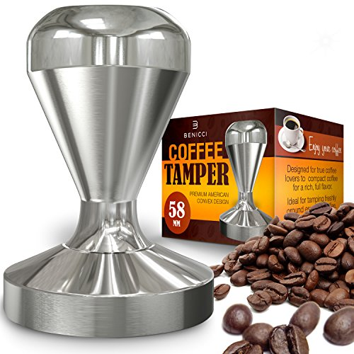 Benicci Espresso Coffee Tamper, Premium Quality Stainless Steel, Solid Heavy, Barista Style, American Convex Base, 58mm