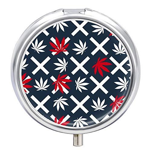Cheyan Hemp Leaf Pattern Custom Round Silver Pill Box Pocket 1.97 Inches Medicine Tablet Holder Organizer Case for Purse