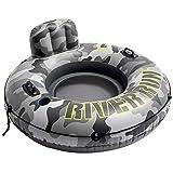 Intex 56835EU - Rueda hinchable INTEX, hinchable River Run, diseño camuflaje, con respaldo, diámetro 135 cm, flotador de agua, hinchable para adultos, con portavasos y conectores