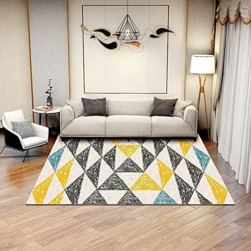 Alfombra moderna para salón de 140 x 200 cm para dormitorio, alfombra moderna de pelo corto para sala de estar, con cuadros grandes, ideal para interiores y salones