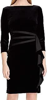 American Living Women's Dress Black US Size 16 Sheath Ruffle Velvet