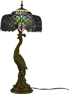 """YUN HAI Lampe Table Tiffany De Paon 27"""" Lampe De Chevet Coloré en Verre Taché De La Lumière Rétro avec Abat-Jour Rotatif E..."""