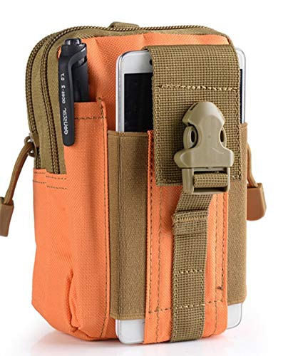 Jipemtra Tactical Molle Pouch Utility Gadget Belt Waist Bag Pocket Organizer Security Purse Phone Carrying Case for iPhone Xs Max/XR/Xs/X 8/8 Plus Samsung Galaxy S10 S9 S8 Pixel LG HTC (Orange)