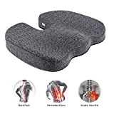 Etekcity Seat Cushion for Pressure Relief Office Chair Cushion 100% Memory Foam Non-Slip Coccyx Orthopedic for Tailbone & Sciatica & Back Pain Relief Bamboo Charcoal Breathable Fadeless Cushion Cover