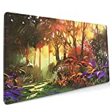Painting of Beautiful Forest with Sunlight Mouse Pad 15.7 X 35.4 Inch (40 X 90 cm) Soft Gaming Mouse Mat Ultra Thick 80mm Extended Large