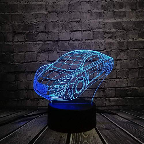 3D Nachtlicht Dinosaurier 3D Lampe Nachtlicht Roadster Sportwagen Modell 3D LED Lampe 7 Farben Wechselndes Nachtlicht Cool Boy Auto Fan Zimmer Dekor Geburtstagsgeschenk mit Fernbedienung USB