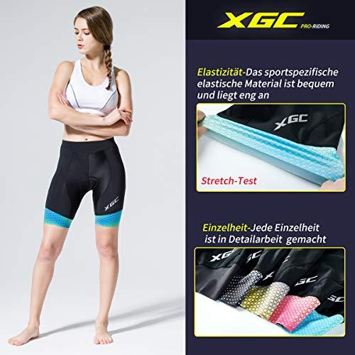 XGC Damen Kurze Radlerhose und Radunterhose Radsportshorts Fahrradhose für Frauen elastische 3D Schwamm Sitzpolster mit Einer hohen Dichte (Blue_Green, S) - 4