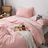 Roore Pink 100% Stone Washed Cotton Duvet Cover Set I 2 Piece Bedding Set (1 Pillow Sham and 1 Duvet Cover) I Soft Wrinkled Striped Design (Pink, Twin)