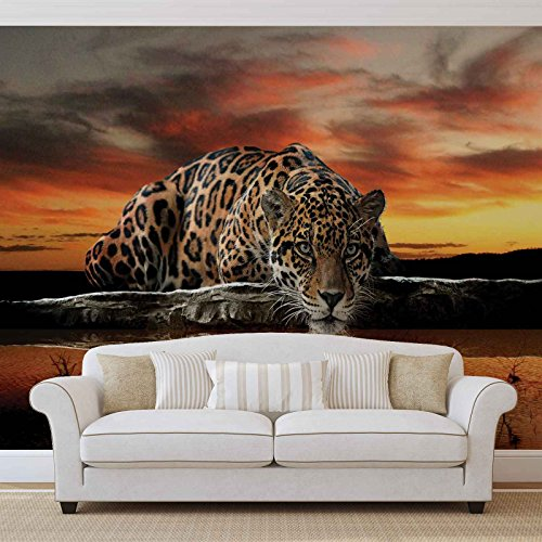 Leopard - Forwall - Fototapete - Tapete - Fotomural - Mural Wandbild - (126WM) - XXXL - 416cm x 254cm - VLIES (EasyInstall) - 4 Pieces