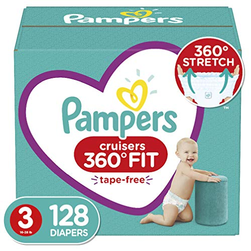 Diapers Size 3, 128 Count - Pampers Cruisers 360° Fit Disposable Baby Diapers, Enormous Pack (Packaging May Vary)
