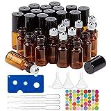 BENECREAT 30 Pack 3ml Botella de Vidrio Botellas de Rodillos de Aceites Esenciales Equipado con Cubierta Negra y 10 Pipetas, 4 Embudos, 1 Abridor