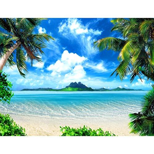 Fototapete Strand und Meer 352 x 250 cm Vlies Tapeten Wandtapete XXL Moderne Wanddeko Wohnzimmer Schlafzimmer Büro Flur Grün Blau 9004011a