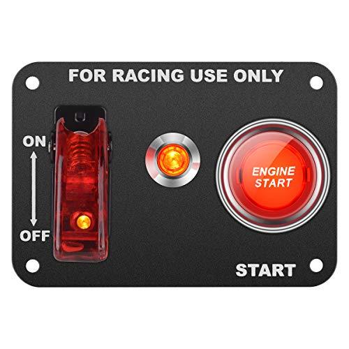 DC12V 20A / 50A Universal auto schalttafel für rennwagen Zündschalter + kippschalter startknopf mit kontrollleuchte (rot)