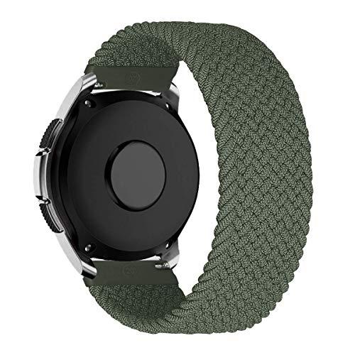 MroTech Compatible con Samsung Galaxy Active/Active2 40mm/44mm/Galaxy Watch 3 41mm/Galaxy 42mm Correa Nailon elástico 20mm Pulseras de Repuesto para Huawei GT 2 44 mm Banda Nylon Woven Loop-Verde/XS