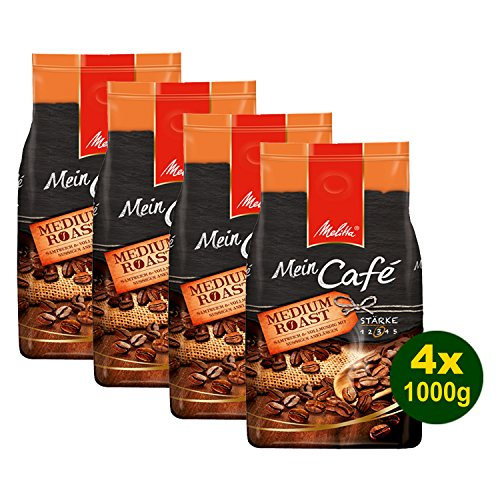 Melitta Mein Café MEDIUM Roast, Kaffeebohnen, 4x 1000g (4000g) - vollmundig mit leicht nussiger Note!