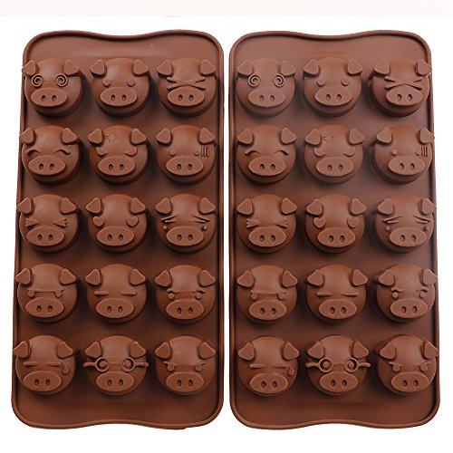Webake Silicone Chocolate Molds Piggy Face Emoticons Candy Molds for Jello, Fondant, Hard Candy, Keto Fat Bombs, Resin, Pack of 2