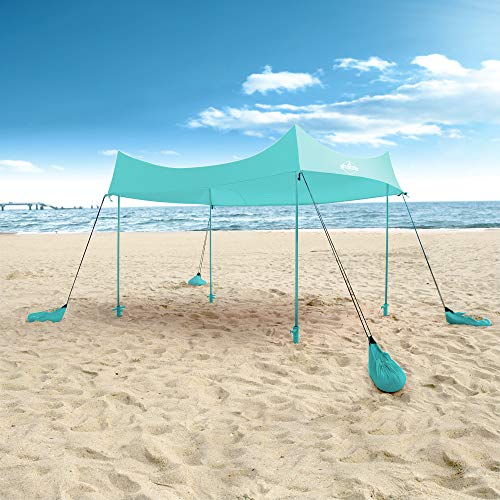 Hike Crew Sun Shade Canopy | Lycra Portable Beach Tent Shelter with UPF 50+ UV Protection, Built-in Sandbags, Carry Bag, 4 Poles & 3 Anchor Sets for Various Terrain | Wind, Water & UV Resistant
