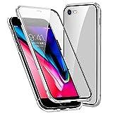 Funda Compatible iPhone 7/8/SE 2020, Carcasa Anti-Choques y Anti- Arañazos, Adsorción Magnética conchoques de Metal con 360 Grados Protección Case Cover Transparente Vidrio Templado Cubierta,Plata