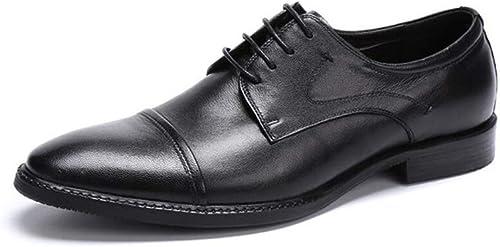 FLYSXP Calzado Oficial de Oxford Derby para hombres, zapatos de PU de Encaje, Negocio y Uso Diario, zapatos Casuales Planos, Suaves y cómodos, 37-46 Yardas botas de Cuero de los hombres