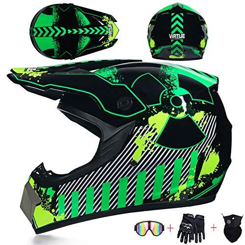 JCLDG Motocross Helm Crosshelm mit Handschuhe Maske Brille, Herren Damen Motorradhelm Off-Road Downhill-Enduro-Helm-ATV-MTB-BMX Dirt Bikes Quad Motorräder Full-Face Schutz-Helm,S