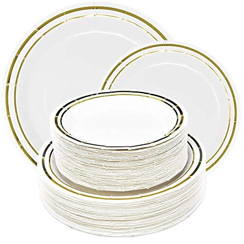 "100 Disposable Paper Party Plates White Gold Rim Tableware Set 50 10"" Fancy Dinner Plates 50 7"" Elegant Dessert Plate for Birthday Baby & Bridal Shower Anniversary Wedding Reception Supplies Decor"