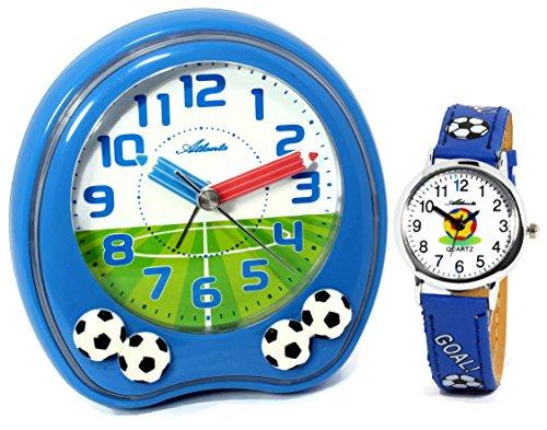 Kinderwecker Jungen ohne Ticken mit Armbanduhr Fußball Blau -1719-5 KAU