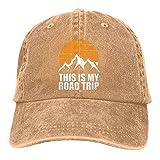 Leumius Este es mi Road Trip Mountains Lovers Hat, gorra de béisbol ajustable con ventilación de verano, natural, Talla única