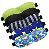 5 Pieces 3D Sleep Eye Mask for Kids Contoured Cup Sleeping Mask Comfortable Eye Cover with Adjustable Strap to Block Light (Children)