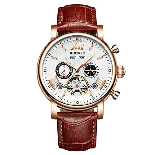 Relojes para hombre con calendario perpetuo, cuero volando Tourbillon impermeable, mecánicos, automáticos