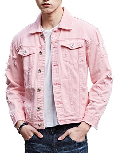 Mens Retro Vintage Hip Hop Motorcycle Denim Pink Jacket