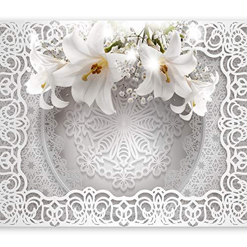 murando Fotomurales Flores Lirio 150x105 cm XXL Papel pintado tejido no tejido Decoración de Pared decorativos Murales moderna de Diseno Fotográfico Ornamento Cuero óptica b-C-0212-a-c